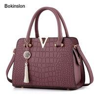 Bokinslon Shoulder Woman Bags PU Leather Fashion Women Handbags Bags Crocodile Pattern Solid Color Female Bags