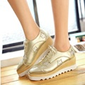 British Style Square Head Carve Patterns Glitter Lace-up Gold Casual Shoes Fashion Heavy-bottomed Student Wedges Platform Shoes