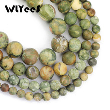 WLYeeS Matte Bird Rock Natural Stone High quality Green charm Round Loose bead 6/8/10/12MM Jewelry bracelet making accessory DIY
