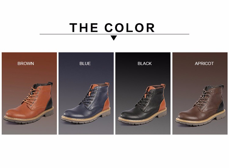 2016 Fashion Genuine Leather Boots Mens Shoes Casual Lace Up Flat Heel Motorcycle Boots Round Toe Men Ankle Boots Size 38-44 H72 (1)