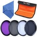 K & F Concepto profesional kit de filtro de 40.5mm UV + CPL + FLD + filtros ND4 + paño azul 4 ranura filtro de bolsa envío gratis