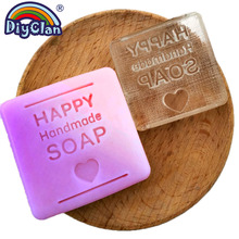 Happy Handmade Soap Making Stamp Heart Shape Clear Diy Natural Organic Glass Seal Acrylic Chapter With Handle 3Z0291