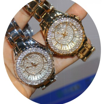 Reloj de cuarzo para mujer, moderno, informal, brillante, para mujer, de cuarzo, dorado, con diamantes de cristal, reloj femenino