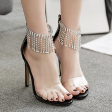 Fashion Summer Women Sandals Casual PU ZIP Rhinestone Thin Heels 11CM High Heels Open Toed Women Shoes Sexy Pumps