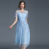 2017 Women Elegant Lace Mesh Embroidery Dress Summer Femme Short Sleeve Pink Long Dress Blue Holiday