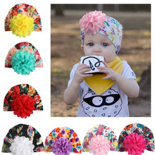 New Infant Toddler Kids Baby Boys Girls Hat Turban Cotton Flower Knot Beanie Cap