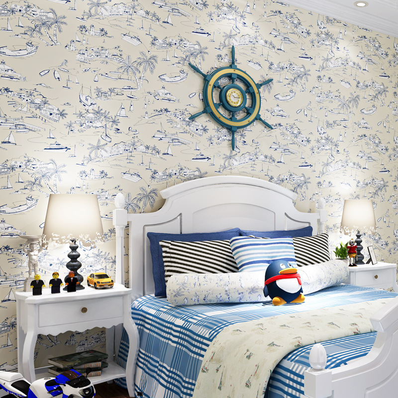 beibehang American Mediterranean children 's room wallpaper blue boat non - woven bedroom bedroom wallpaper Fairy Pirate Sailing