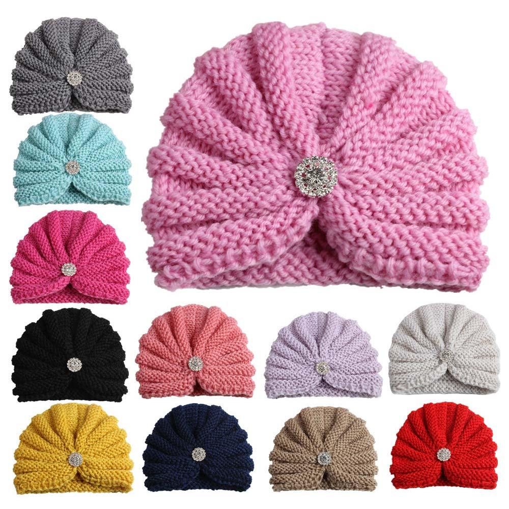 a921c3f9174 2018 New Fashion Crochet Kids Hat Elastic Knitted Wool with Diamond Girls  Beanie Cap Multicolor Children Turban Hat Accessories