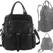Модный корейский женский кожаный рюкзак из натуральной кожи, мужской школьный рюкзак, женский рюкзак для девочек, черный M075