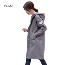 Ftlzz Autumn Long Jacket Vintage Hooded Fashion Casual Female Coat Korean Style Bomber Jacket Women Basic Jacket Plus Size