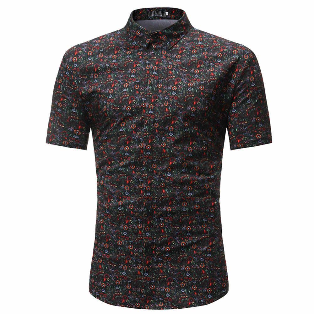 2019 Для мужчин модные Повседневное короткий рукав d рубашка с принтом Для мужчин; модный принт отложным воротником Slim Fit короткий рукав топ, футболка F1