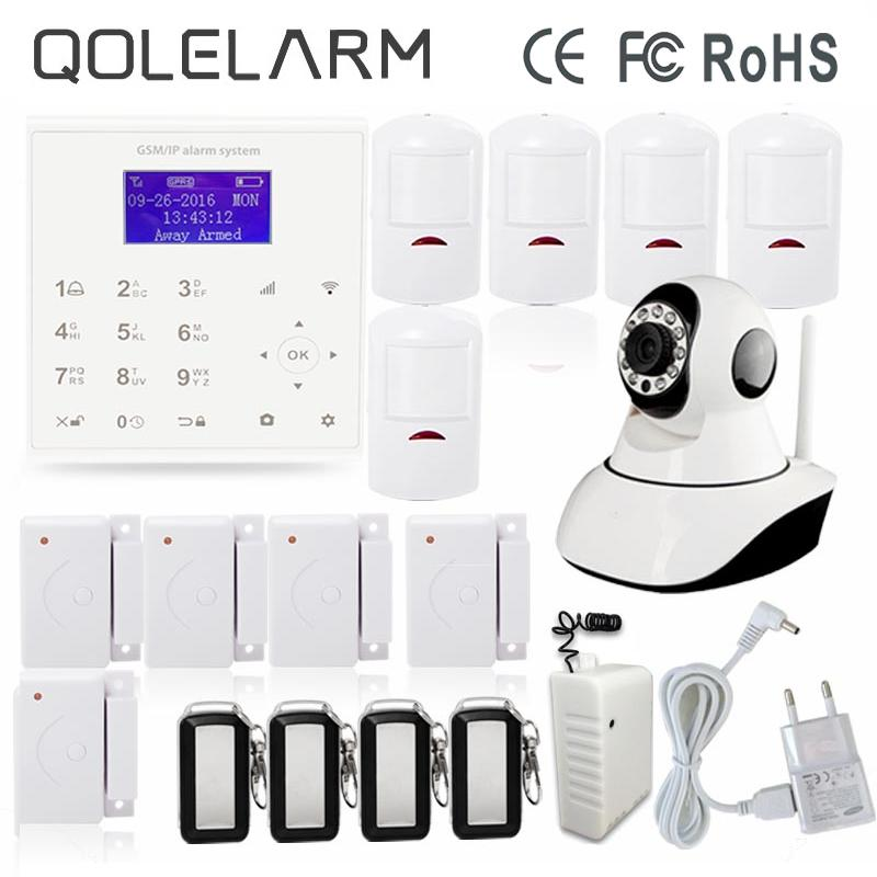 QOLELARM Touch Screen Keypad Wireless Home Burglar Security Alarm System LCD Display WIFI GSM IOS Android APP HD IP Camera Relay