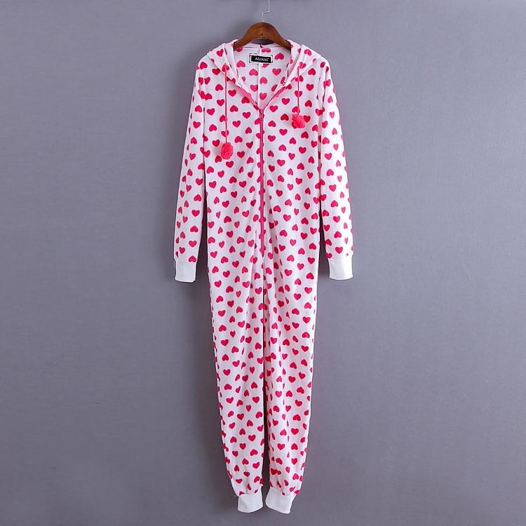Woman kawaii pink heart print Jumpsuit winter onesies Warm Cotton Fleece Pyjama/Jumpsuit S-L
