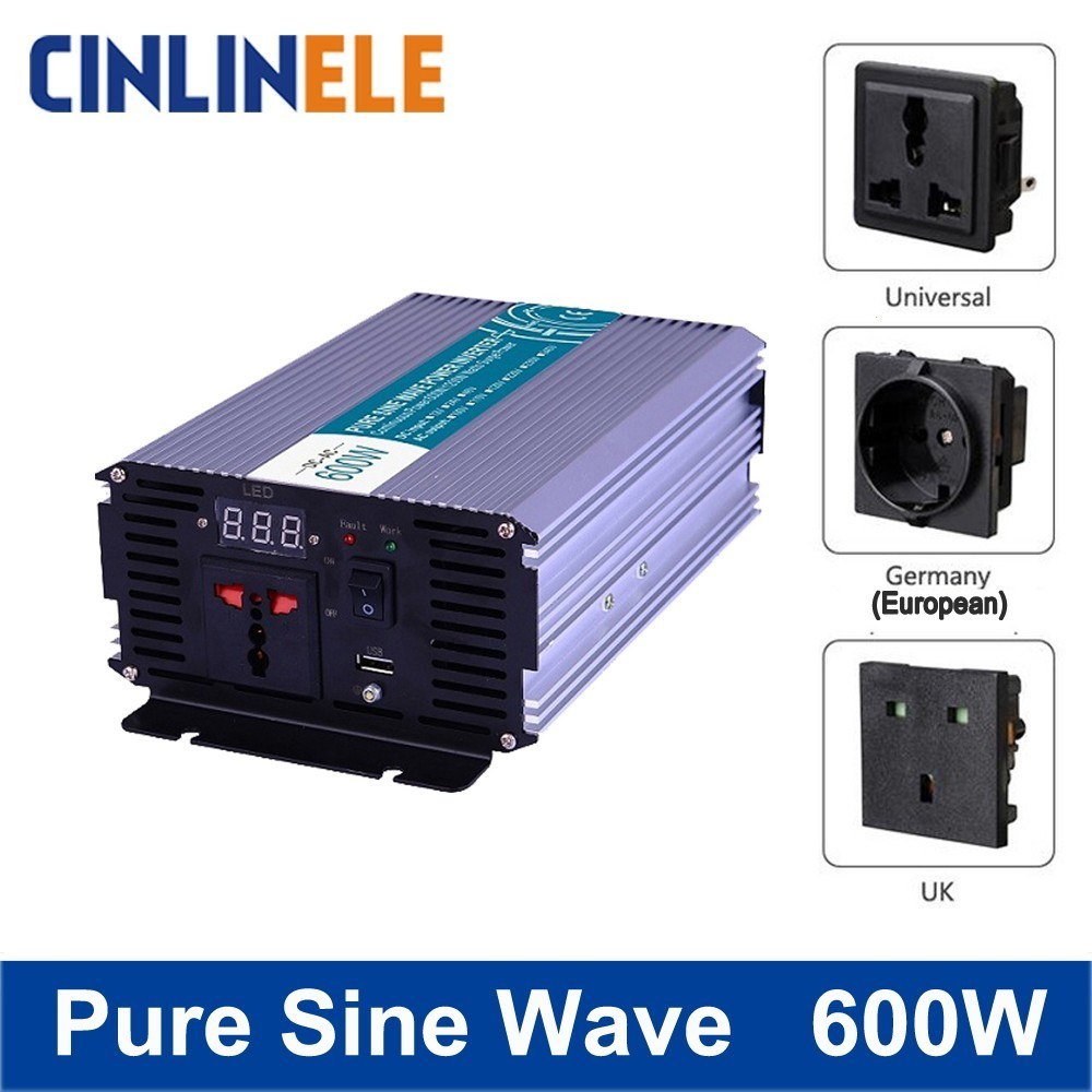 цена на Smart Pure Sine Wave Inverter 600W CLP600A DC 12V 24V 48V to AC 110V 220V Smart Series Solar Power 600W Surge Power 1200W