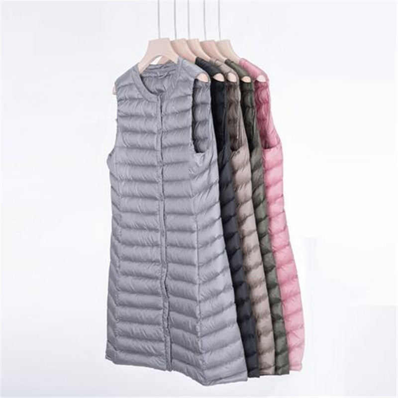 New Women's Long Vest Autumn Winter Ultra Light   Down   Vests Women Female   Down     Coat   Long Sleeveless Without Collar Jacket