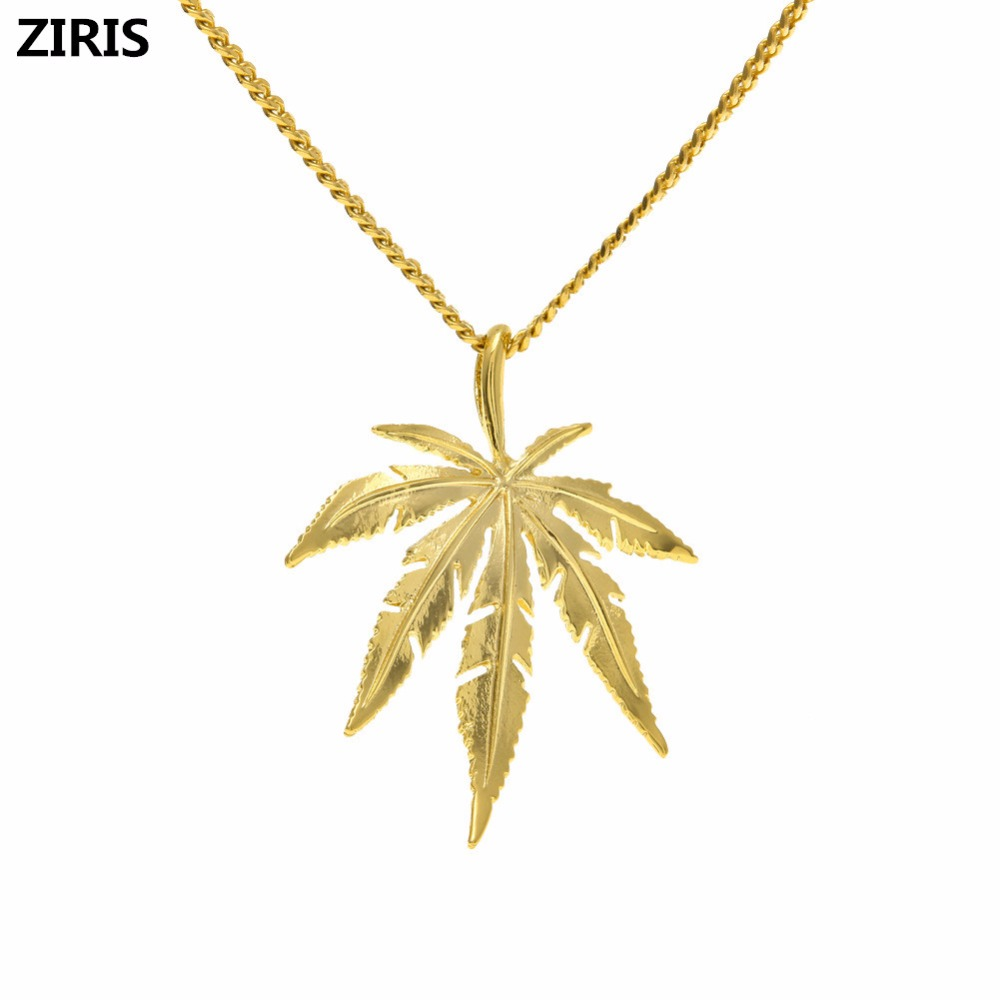 ZIRIS 2018new Plated <font><b>Cannabiss</b></font> Small Weed Herb Charm Necklace Maple Leaf Pendant Necklace Hip Hop Jewelry Wholesale image