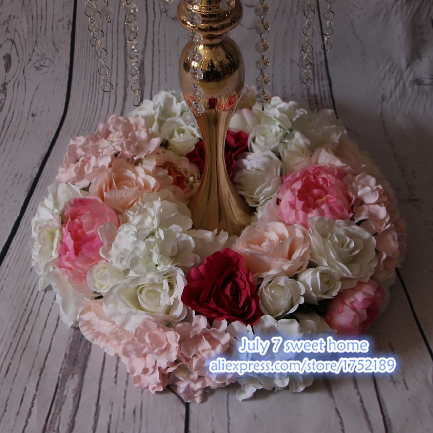 NEW Wedding Flower Wreath Table Centerpiece Wedding Road Lead Artificial  Flowers Ring Decorative Wreath  In Artificial U0026 Dried Flowers From Home U0026  Garden On ...