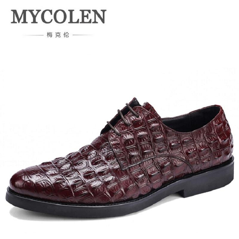 MYCOLEN New Designer Genuine Leather Business Dress Crocodile Pattern Classic Men Shoes Fashion Lace Up Mens Shoes schoenen 2017 men shoes fashion genuine leather oxfords shoes men s flats lace up men dress shoes spring autumn hombre wedding sapatos