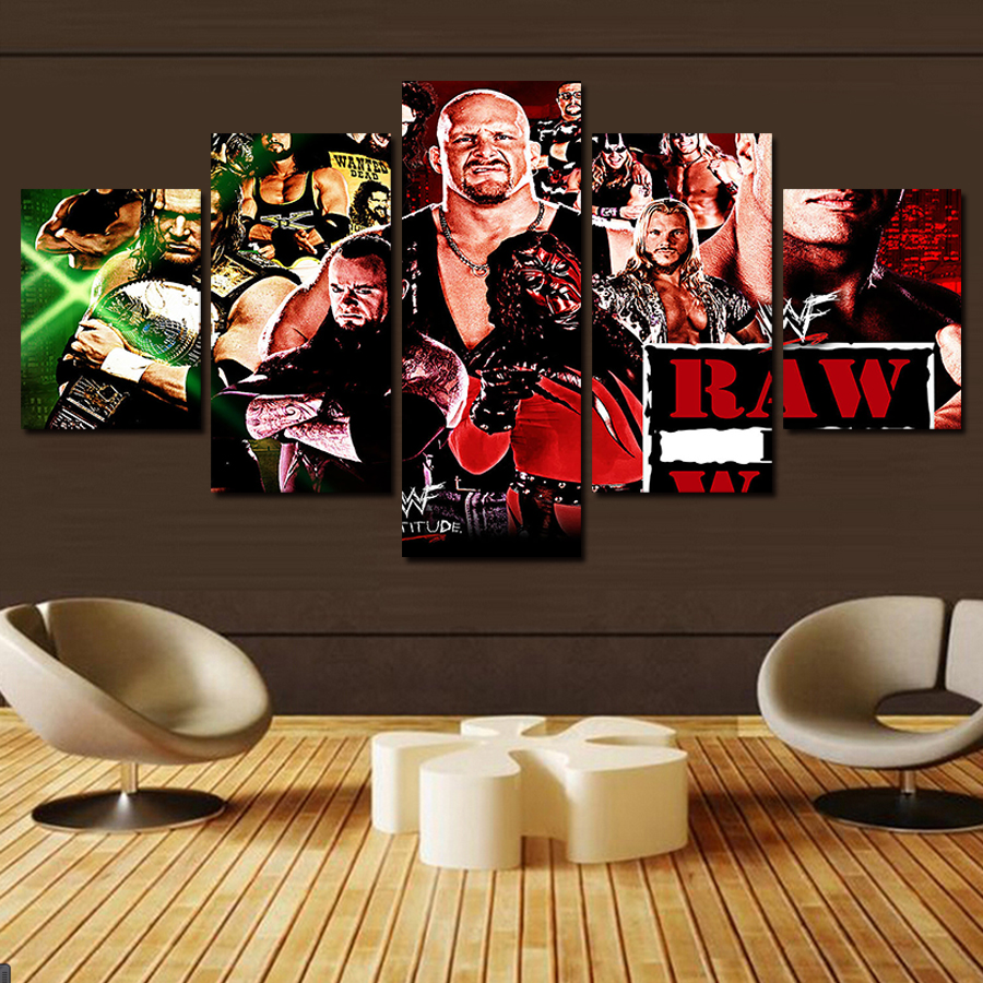 Frameless 5pcs HD WWE Superstar High Quality Canvas Printing Painting  Modern Home Living Room Wall Art Decoration Picture. Wwe Decor Reviews   Online Shopping Wwe Decor Reviews on