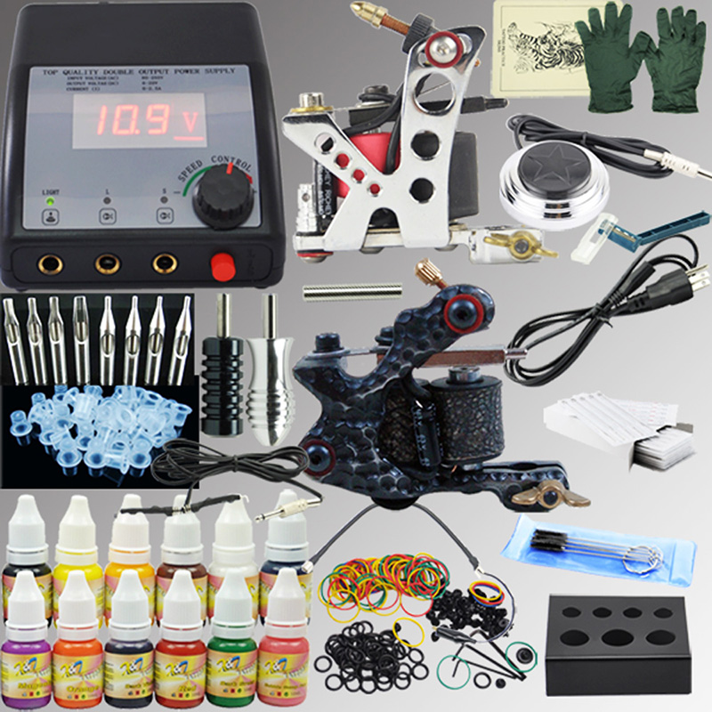 OPHIR 325Pcs PRO Complete Tattoo Kit Power Supply 2 Machine Guns 12 Color Tattoo Inks 50 Needles 8pcs Nozzles 2x Grips Set_TA004 baseball bat led flashlight security camping light torch self defense high power dry battery advanced life saving portable light