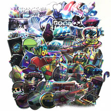 60pcs/set Cool Motorcycle Laser Stickers Bomb Tide Brand ET Alien Decals For Skateboard Luggage Laptop Notebook Toys For Gift F5(China)
