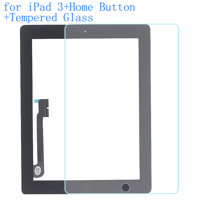ALANGDUO for iPad 3 A1416 A1430 A1403 Apple Touch Screen Digitizer Panel Front Touchscreen with Home Button with Tempered Glass