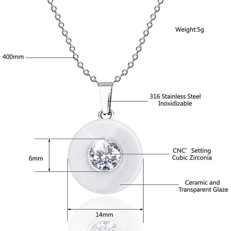 Real cerâmica zircônia cúbica corrente colares & pingentes cor branca moda cristal cerâmica colar jóias de casamento para mulher