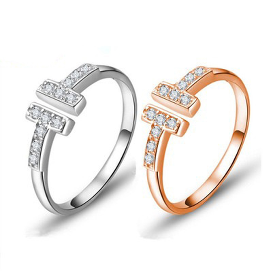 Silver Plated Vintage Rhinestone Open Rings For Women Elements Crystal T Shop Ring Bague Femme Lover wedding Ring Anillos A0064