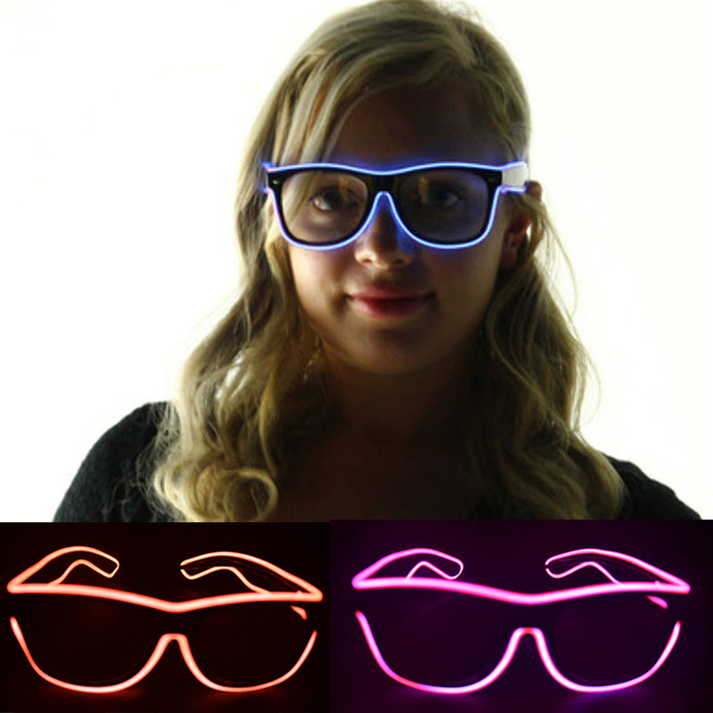 3 modos El Wire Fashion Glasses Neon Flashing LED Glass Luminous Shutter en forma de brillantes juguetes clásicos para baile DJ, máscara de fiesta Nuevo