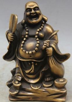 "Fast shipping 6"" Chinese Fengshui Copper Happy Laugh Maitreya Buddha Money Pocket statue"