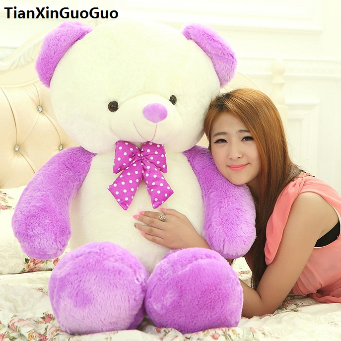 stuffed toy large 100cm cartoon purple teddy bear plush toy bowtie bear soft doll throw pillow christmas gift b2884 stuffed animal 120 cm cute love rabbit plush toy pink or purple floral love rabbit soft doll gift w2226