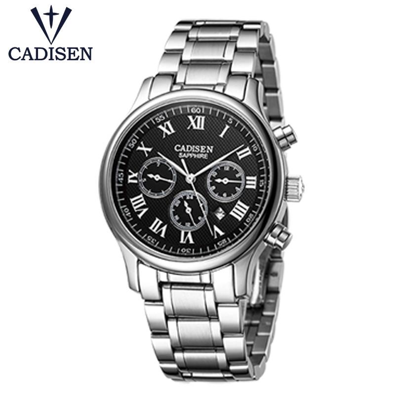 2017 marque De Luxe CADISEN montre pour hommes en acier inoxydable militaire Quartz semaine horloge nouveau genève mâle bracelet Relogio Masculino