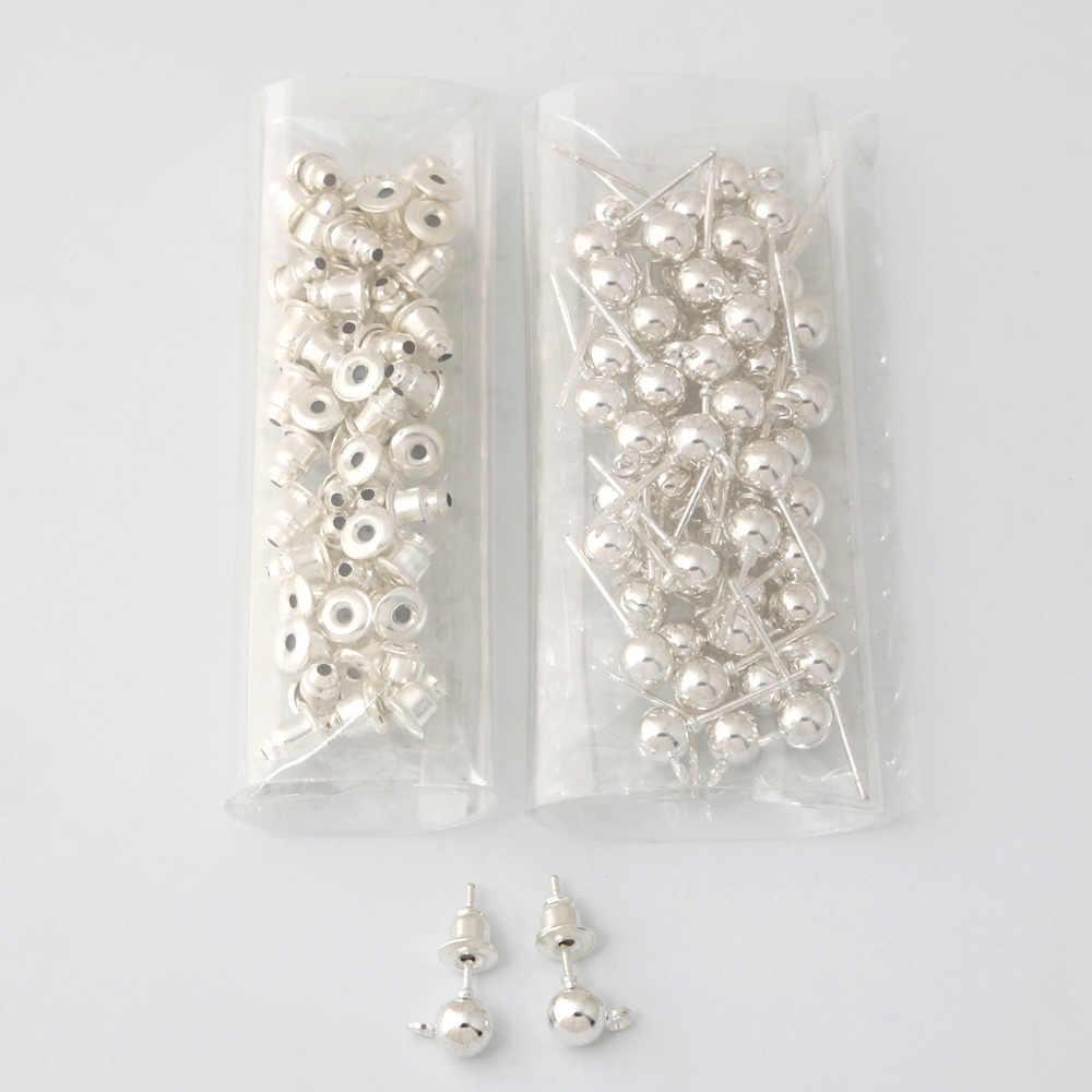 50 個の金属ピン所見スタッドのイヤリング基本針ポストストッパーファッション女性イヤリング Diy アクセサリージュエリー