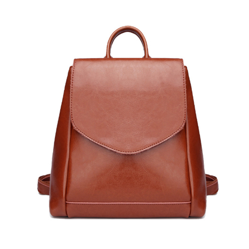 Homeda New Genuine Leather Vintage Hasp Women Backpacks Street Fashion Solid Cool Girl Bags Z0011