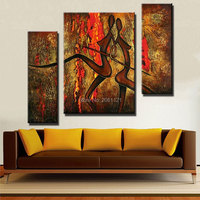 Hand Painted dark brown figures Oil Painting Sets Modern Abstract 3 Piece Canvas Art nude Picture abstract Wall Decor For Sale