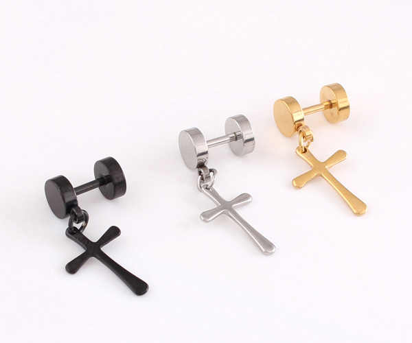 a91cc9b47 Detail Feedback Questions about 2 Pieces To Sell Whole Titanium Steel  Silver Black Golden barbells Cross Trendy Cool Men Stud Earrings For Men  Dress on ...