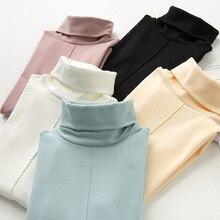 Alta calidad 93% algodón suave básica suéter de cuello alto para las mujeres  otoño invierno cálido superior camisa de manga larg. 0e4860f4539f