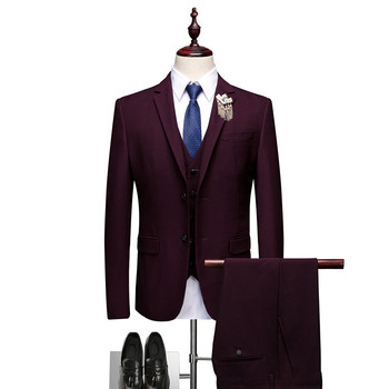 Single-breasted formal suit jacket men + pants + vest wedding party mens suit  S M L XL XXL XXXL