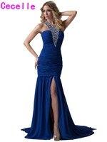 2017 Sexy Dài Mermaid Royal Blue Evening Dresses Gowns Cho Thanh Thiếu Niên Beaded Halter Voan Side Slit Backless Prom Evening Gowns