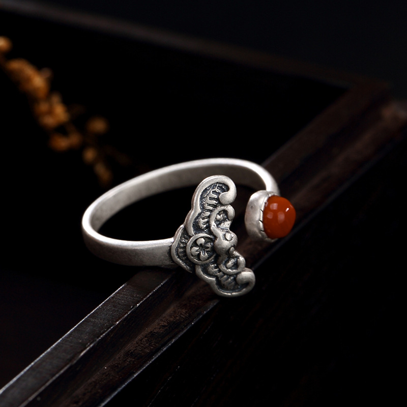 pure silver blessing in front of plum blossom south red retro personality openings Sterling Silver Ring Rings Wholesale