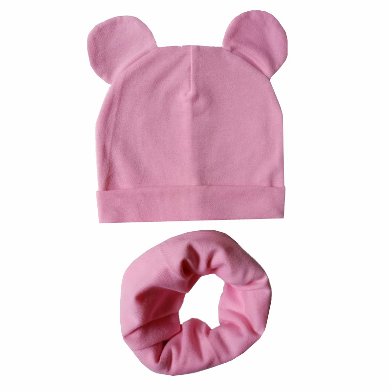 Baby Hat Scarf Set Cute Ears Scarf  For Baby Boys Girls Beanies Cotton Children Hats Scarves Set Baby Girls Caps Photo Props