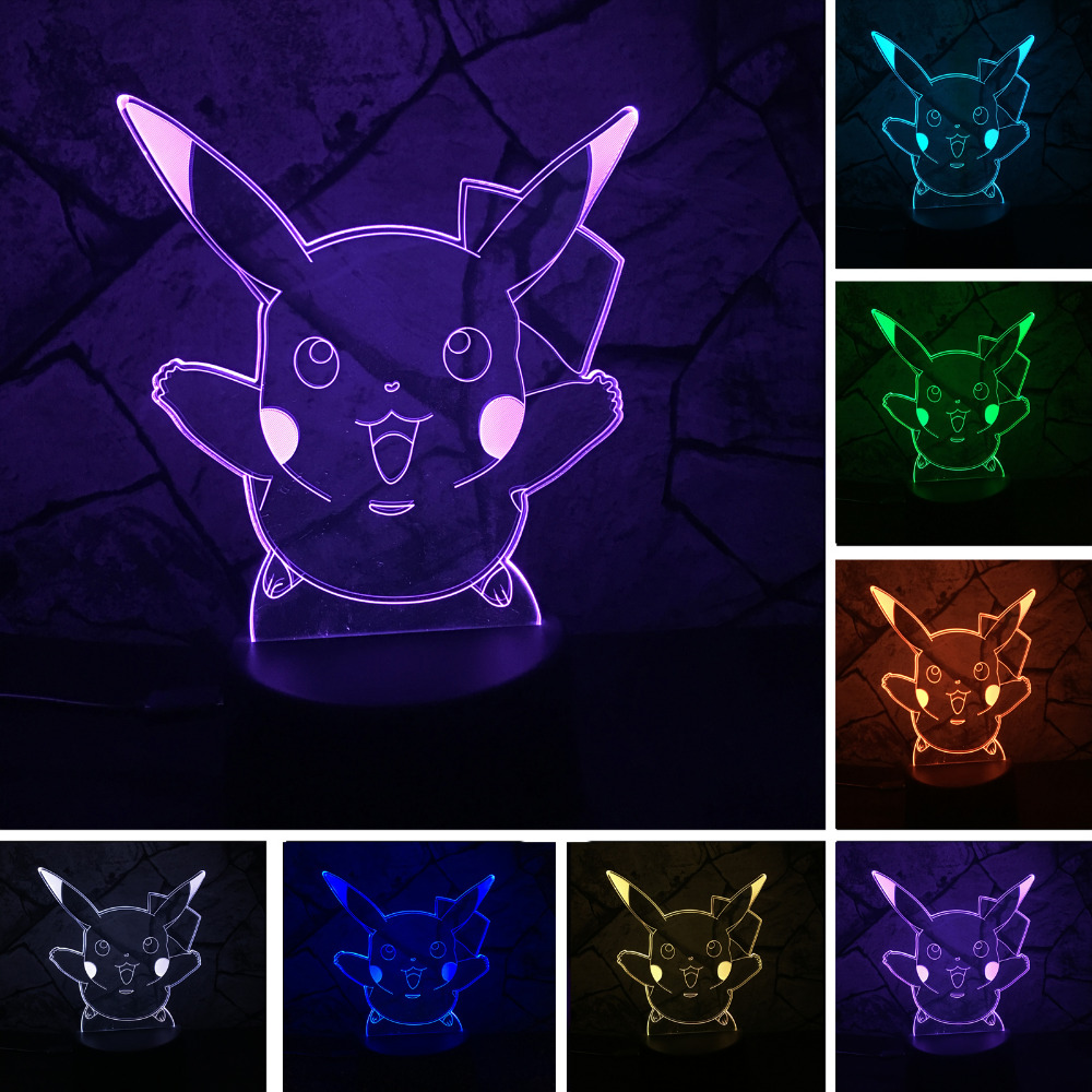 Hot Pokemons Go Game Christmas Xmas Pikachu LED Night Lamp with 7 Colors Change Touch Atmosphere Gifts Lighting Free Shipping