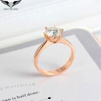 Кольцо с бриллиантом/Муассанит кольцо/кольцо с бриллиантами/Обручение кольцо 14 К розовое золото 1.0ct круглый