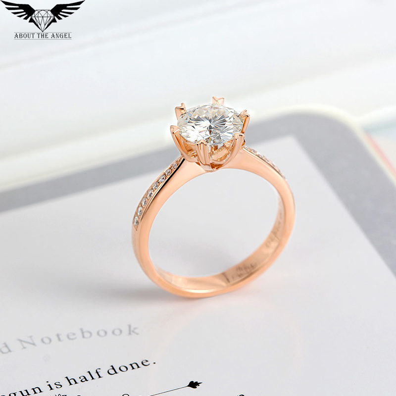 Diamond Ring/Moissanite Ring/Diamond Solitaire Ring/Engagement Ring 14K Rose Gold 1.0ct Round black diamond cat hair ring