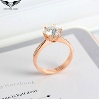 1 0ct Round Cut Test Positive Moissanite Lab Grown Diamond Solitaire Engagement Ring 14K Rosy Gold