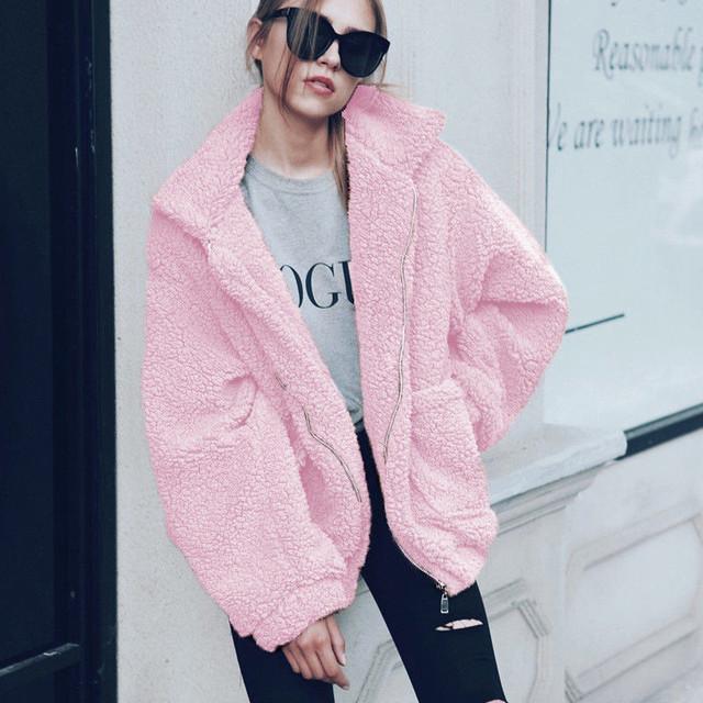 Elegant Faux Fur Coat Women Autumn Winter Thick Warm Soft Fleece Jacket Pocket Zipper Outerwear Overcoat Bear Teddy coat S-3XL