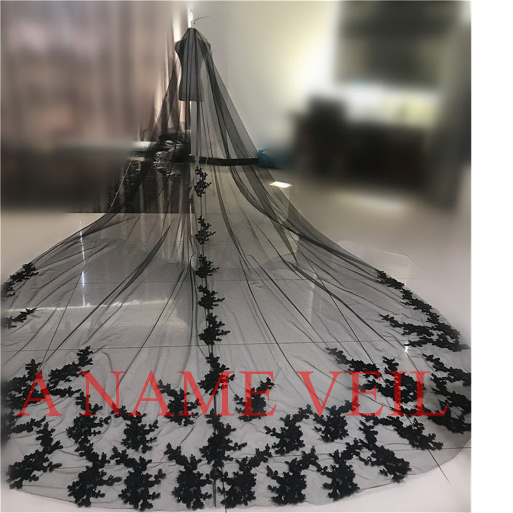 3.5M Cathedral Black Wedding Veils Long Applique Edge Brides Lace Bridal Wedding Veil 1 layer Cosplay Voiles Mariage Noir Longue-in Bridal Veils from Weddings & Events    1