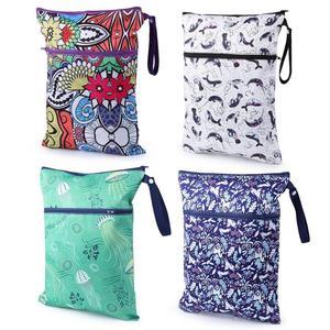 Bolsa de fralda de bolso impermeável, mini bolsa de fralda estampada reutilizável com bolso, sacos de viagem secos e molhados