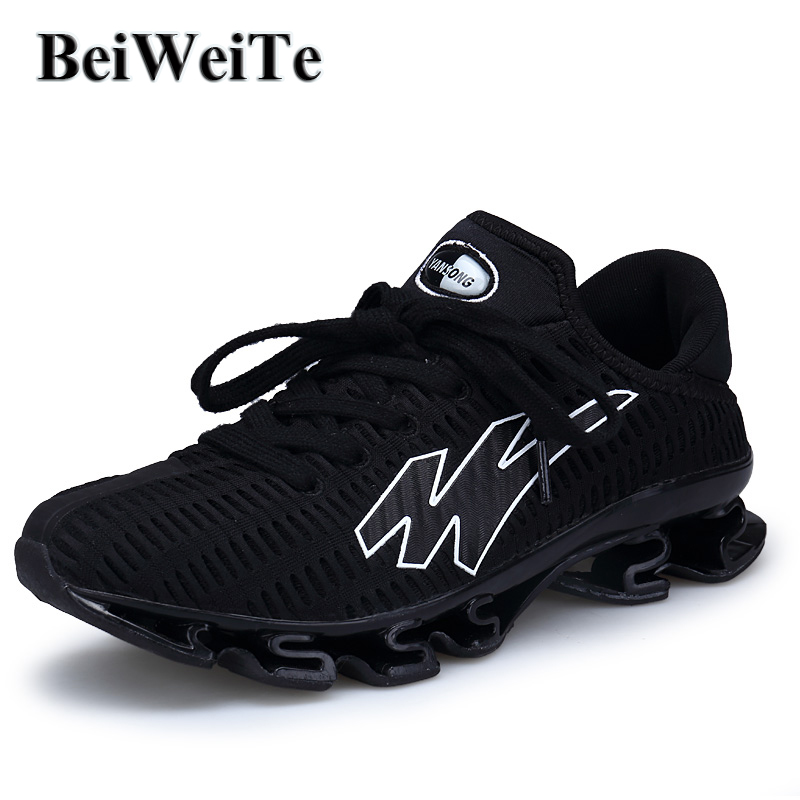 dcf81acc9bdb US $27.92 39% OFF|Men's Big Size Blade Running Shoes Breathable Knit  Sneaker Non slip Shock proof Male Spring Outdoor Tourism Trail Walking  Shoes-in ...