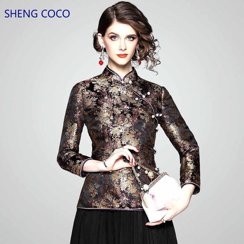 a61ae12bcba Шэн коко для женщин китайские Топы с длинным рукавом Традиционный стиль  дамы Китайский Cheongsam Qipao топ